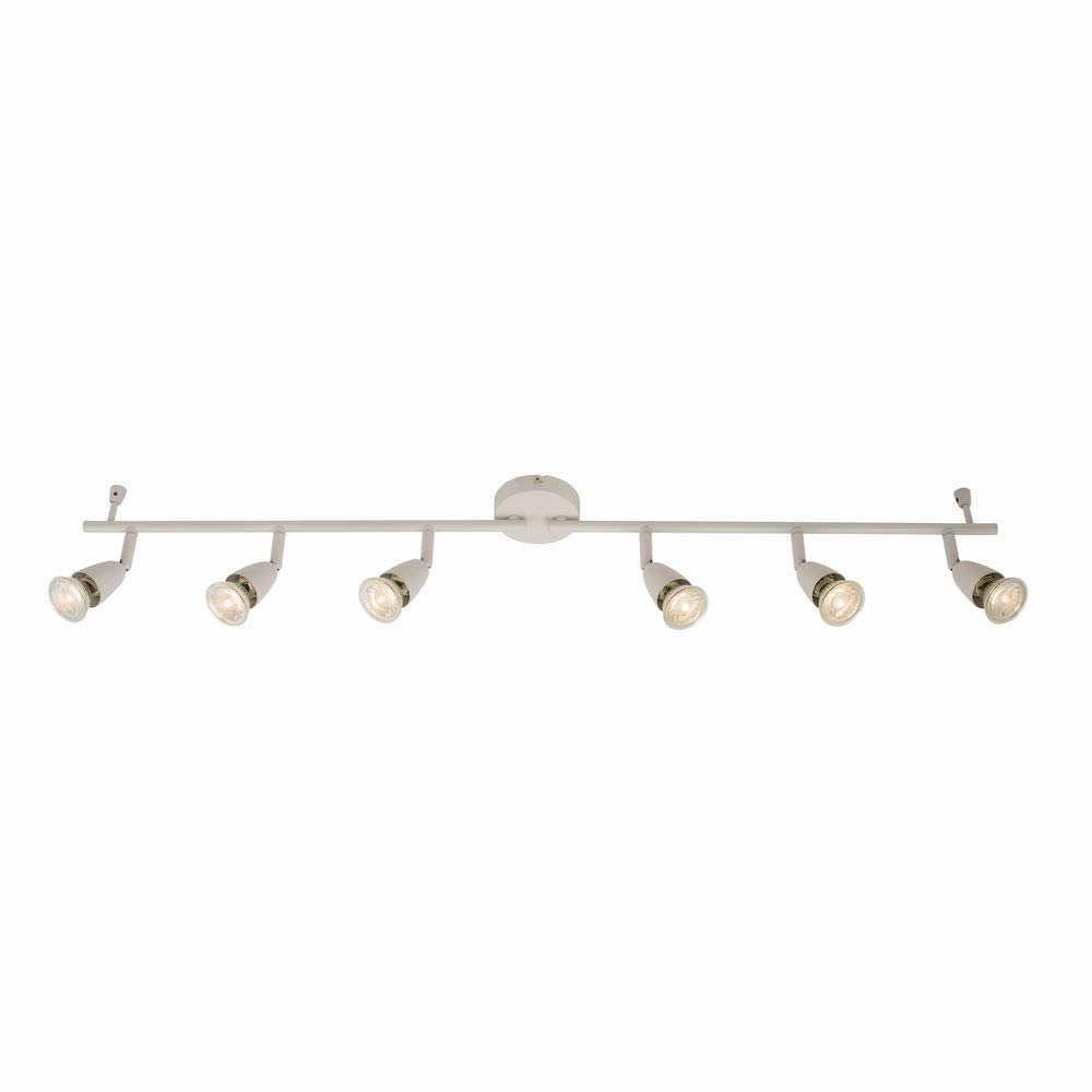 2 Individualy Adjustable Bars with 3 Fully Adjustable Spotlights Each Satin Nickel Finish LED Compatible Dimmable Ceiling 6 Light Spotbar Fitting