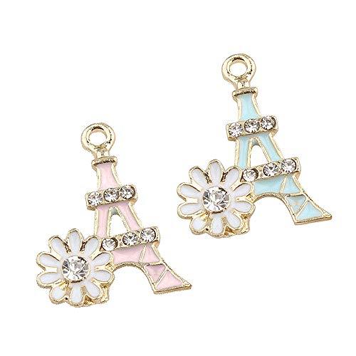 M226-E 8pcs New Cute Pink Blue Eiffel Tower Flower Bracelet Charms Pendants Wholesale