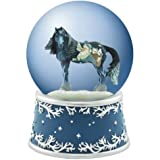 Blue Wild Horse with Santa Claus and Woodland Animals Water Globe