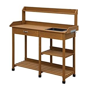Convenience Concepts Deluxe Potting Bench, Light Oak