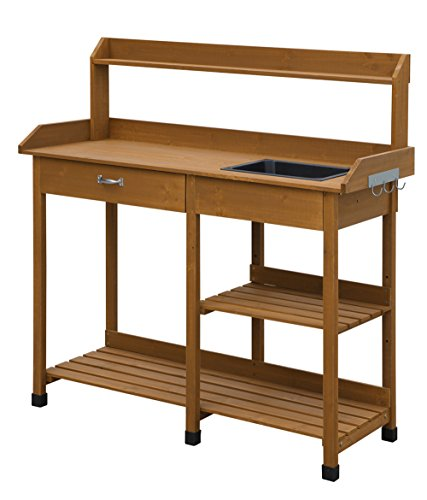 (Convenience Concepts Deluxe Potting Bench, Light Oak)