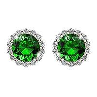 Belinda Jewelz Womens 14k Gold Sparkle Round Birth Gemstone Stud Earrings