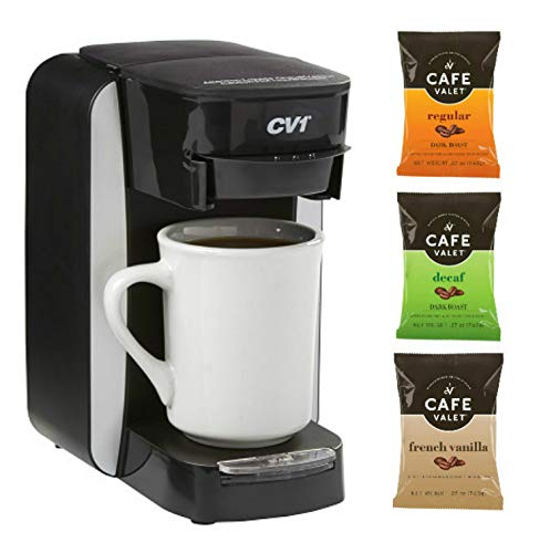 Café Valet One Cup Coffee Maker, Single Serve Coffee Brewer & 36Count Cafe Valet Tasters Assortment One Cup Coffee Filter Packs