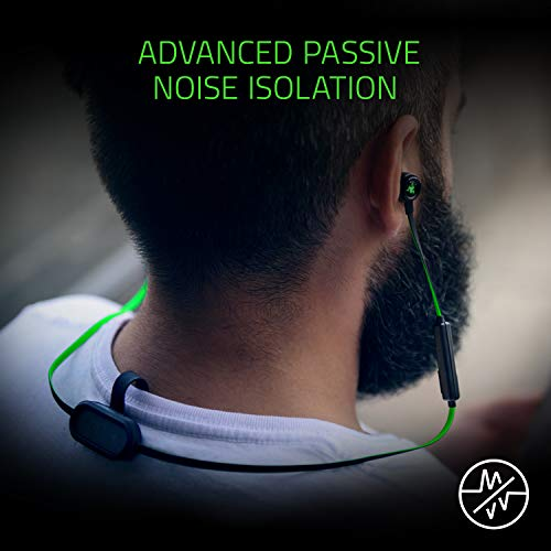 Razer Hammerhead Bluetooth Earbuds for iOS & Android - [Matte Black/Green]:  Sweat-Resistant Design - 8 Hr Battery - Custom-Tuned Dual-Driver