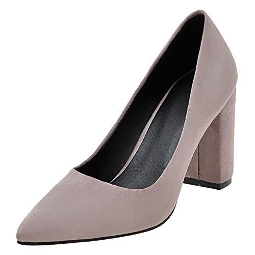Les Femmes Vulusvalas Pompes Talon Bloc Haut Chaussures Violet-2