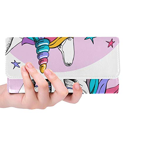 - Unique Custom Puppy Bulldog Bright Colored Costume Unicorn Women Trifold Wallet Long Purse Credit Card Holder Case Handbag