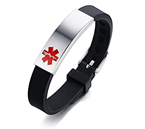 Personalized Free Engraving Stainless Steel Silicone Medical Alert ID Bracelet with Adjustable Watch Buckle