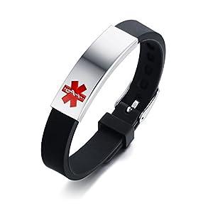VNOX Personalización de Acero Inoxidable Personalizada Identificación de Alerta médica Pulsera de Silicona Ajustable… 12