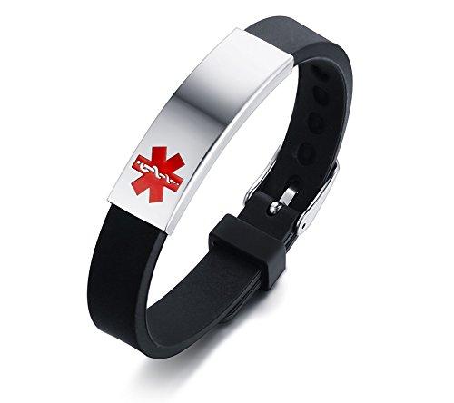 VNOX Personalización de Acero Inoxidable Personalizada Identificación de Alerta médica Pulsera de Silicona Ajustable… 2