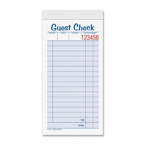 TOPS Guest Check Books, 2-Part, Carbonless, White/Canary, 3-11/32