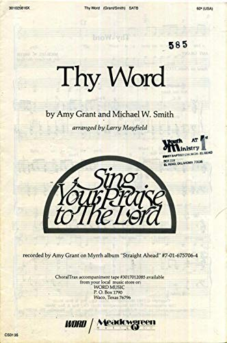 Thy Word SATB Sheet Music with Piano Accompaniment and Guitar -