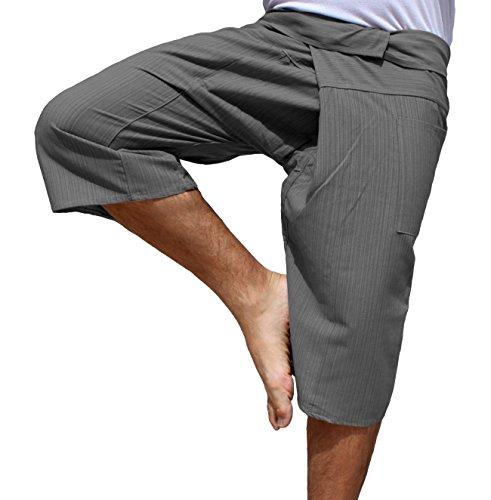 (Raan Pah Muang RaanPahMuang Brand Thin Striped Cotton Thai Fisherman Capri Wrap Pants, Medium, Davys)