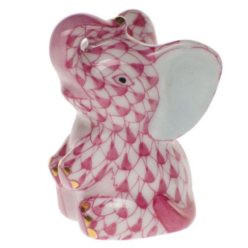 - Herend Mini Baby Elephant Porcelain Figurine Raspberry Fishnet