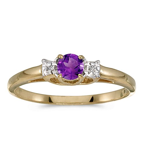 0.17 Carat ctw 14k Gold Round Purple Amethyst & Diamond Bypass Halo Engagement Anniversary Fashion Ring - Yellow-gold, Size 5