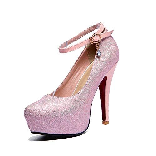 Amoonyfashion Delle Punta Miscela Rosa Rotonda Fibbia scarpe Donne Materiali Tacchi Chiusa Solidi Pompe HqUIxnawn