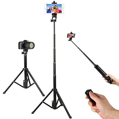 Wireless Remote Selfie Stick Tripod, 54 Inch Adjustable Phone Tripod, Extendable Camera Tripod for Cellphone and Gopro Camera iPhone 8/8 Plus/X/7/7 Plus/Android/Galaxy/Google by WAAO