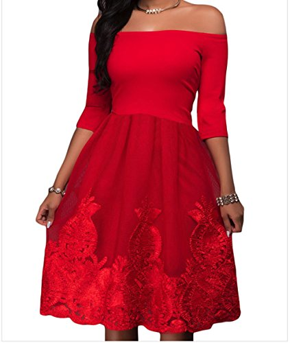 YeeATZ Elegant Hot Red Lacy Embroidery Tulle Skirt Skater (Sexy Hot Red Satin Gloves)