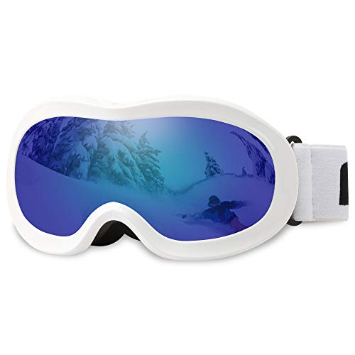 (AKASO Kids Ski Goggles, Snowboard Goggles Snow Goggles for Youth, Kids & Teenagers, Anti-Fog, 100% UV Protection, Double-Layer Spherical Lenses, Helmet Compatible)