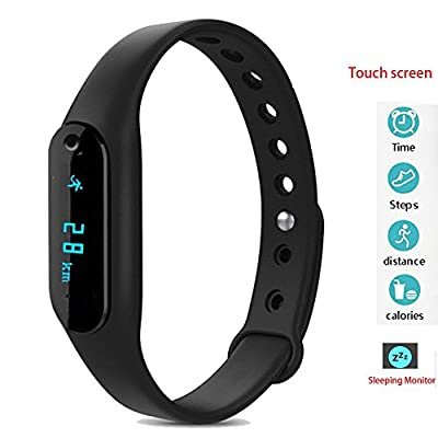 Twinbuys Smart Bracelet Bluetooth 4.0 Android iOS Touch Screen Fitness Tracker Phone Message Notice Pedometer Distance Calories Counter Sleep Monitor Health Sport Wristband Black
