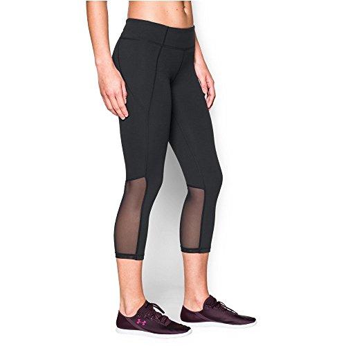 Under Armour Women's Mirror Color Block Crop, Black/Black, Large