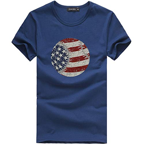 Nihewoo Women Loose Tops American Flag Baseball Printed T-Shirt 18th July Patriotic USA Flag Tee Shirts Short Sleeve Blouse Dark Blue ()