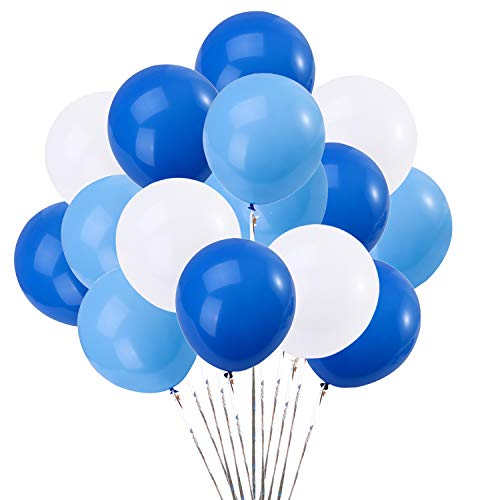 Blue and White Balloons 12inch 75Pcs Latex Party Balloons Helium Balloons Party Decoration Balloons Compatible Birthday Baby Shower Party - Blue, Sky Blue,White Balloons by Brontothere -