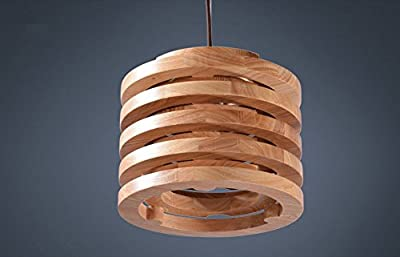 jlysheng Pendant lights lamp Restaurant Japanese style solid wood individualized creative retro single round aisle corridor chandeliers lamp wooden dining room pendant lamp