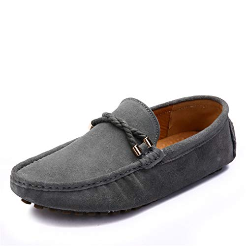 JIONS Mens Loafers & Slip On Driving Suede Moccasins Casual Dress Low-top Shoes B- Grey 12 D(M) US/CN 48