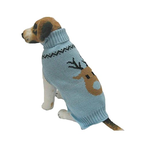 Farjing Dog Clothes,Pet Winter Woolen Sweater Knitwear Puppy Clothing Warm Deer Head High Collar Coat(M,Sky Blue) -