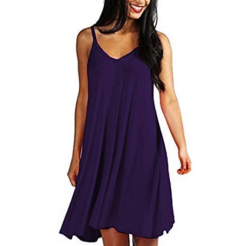ZSBAYU Women's Sleeveless Pleated Mid-Length Dress Ladies Crew Neck Casual Plus Size Elastic Waist Swing Dress Purple -