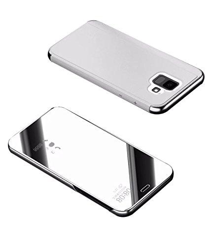 2ndSpring Samsung Galaxy J7 Duo Funda, Galaxy J7 Duo Flip Cover Carcasa Soporte Plegable,Modelo Inteligente Fecha/Hora Ver Espejo Brillante tirón del Caso ...