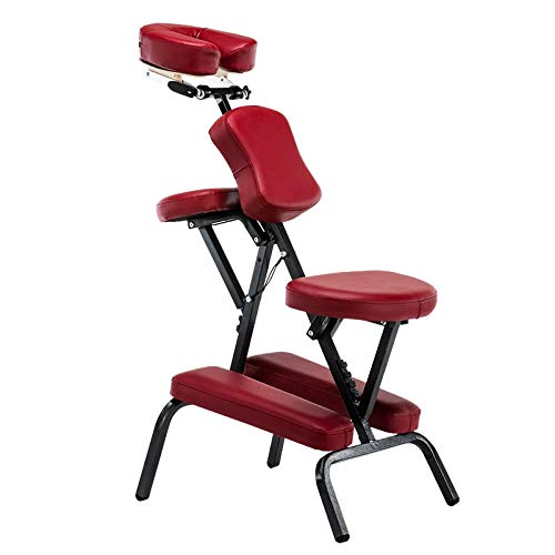 - WAN Xiang KA Outdoor Accessories Portable Folding Adjustable Massage Chair Tattoo Scraping Chair Beauty Bed with Armrest Used for Outdoor (Color : Red Wine)