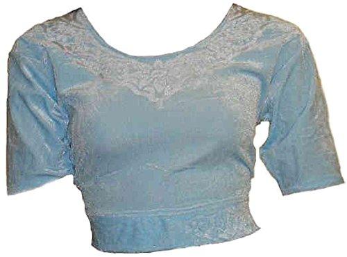 bleu comme la glace Choli haut en velours ideal avec un sari Size L