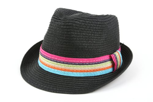 Pop Fashionwear Summer Cool Straw Hipster Fedora Hat Colorful Band 119HF (Black)