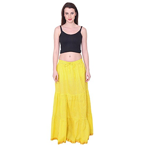 Long Yellow Polka Skirt Print Indian Women's Handicrfats Color Export Cotton wxqpTTOU