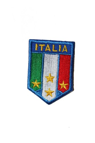 Italy Italia World Cup - Italia Italy FIFA Soccer World Cup Country Flag X-Small SHIELD Embroidered Iron on Patch Crest Badge 1 1/2 X 2 1/4 Inch .. New