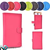 Semi Hard Cover Case for Allview P4 Duo + Sliding Stand Feature (Brilliant Rose Pink | Flame Orange) + NEXTDIA Cable Tie by Kroo