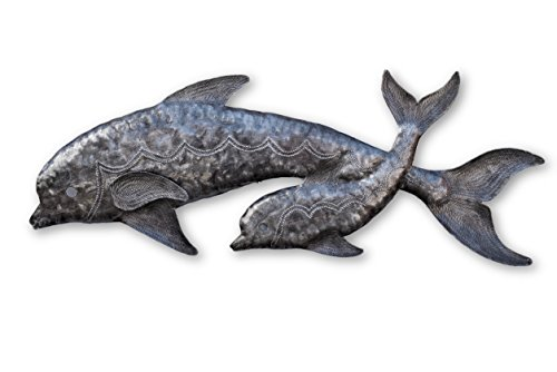 Haitian Metal, Dolphin Wall Decor, Leaping Dolphins, Tropical Beach Wall Hanging Art, Decorative Coastal Plaques, Coastal Dolphin, 8 in. x 22.5 in.