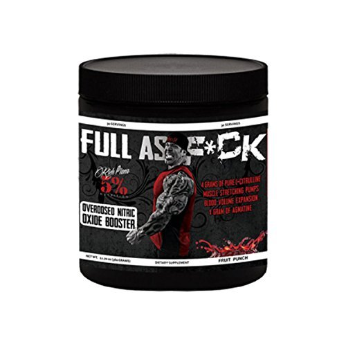 Rich Piana 5% Nutrition FULL AS F*CK Overdosed Nitric Oxide Booster (Pomegranate) 12.70oz (360 Grams) 30 Servings