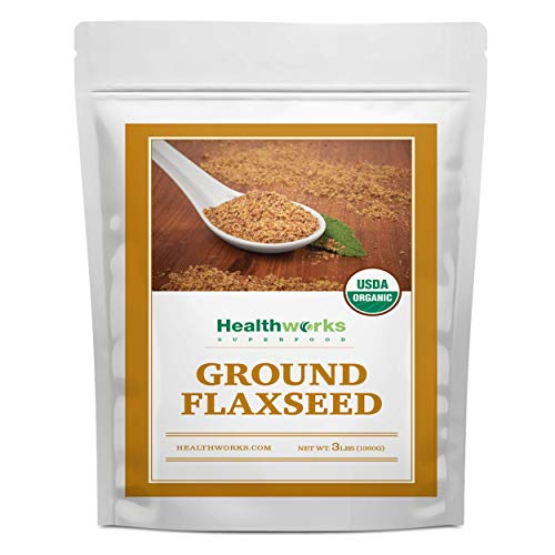 Healthworks Flax Seed Ground Powder Cold Milled Raw Organic (48 Ounces / 3 Pounds) | All-Natural | Contains Protein, Fiber, Omega 3 & Lignin/Lignan | Smoothies, Coffee, Shakes & Oatmeal