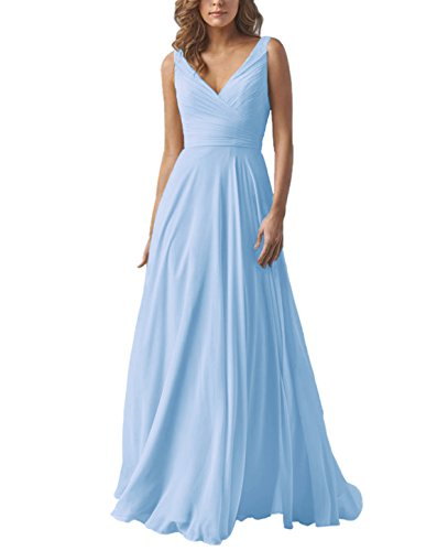 Women's Chiffon A Line Double V Neck Long Bridesmaid Dress Formal Evening Prom Gown SkyBlue US10 Double Lace Up Corset Dress