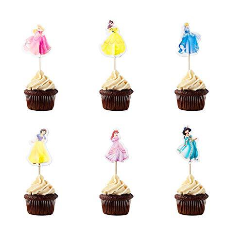 24x Cupcake Topper Picks -Disney Princess Themed Cupcake