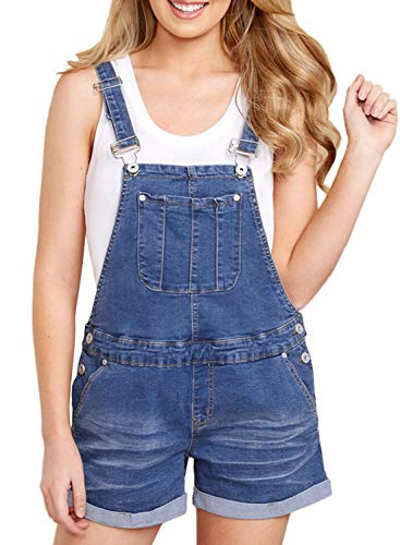 Sidefeel Women Jumper Bid Shortalls Adjustable Straps Denim Overall Shorts XX-Large Dark Blue