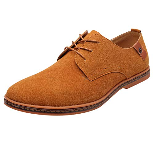 Adaogd Men's Fashion Casual Solid Lace Up Oxfords Leather Shoes Male Business Shoes