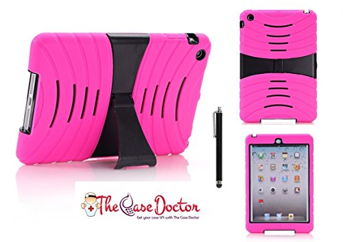 TCD Hot Pink & Black iPad Mini Kick Stand Rugged Armor Hybrid Combo Case with Kickstand Rubber 2 Piece with Screen Protector & Stylus Pen (Hot Pink Ipad 2 Case compare prices)