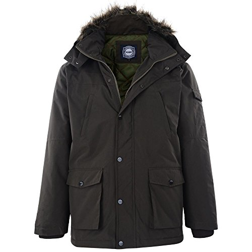 KAM Extra Tall Water Resistant Mens Casual Parker Coat in Olive (KXL31) in XLT by Kam