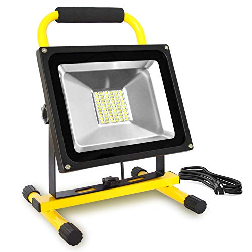 Dersoy 50W LED Work Lights (400W Equivalent), 5000LM, Non-Rechargeable, 5m Wire with Plug, IP65 Waterproof, Job Site Lighting with Stand for Construction Site, Workshop, Garage 5000K Daylight White
