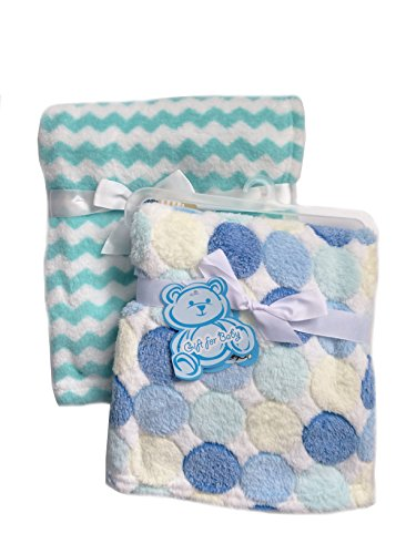 Secret for Longevity 2-Pack Of Super Soft Plush Lightweight Furry Fleece Sherpa Quilt Blue Polka Dots Teal Stripes Boy Baby Blanket Gift Set (Quilt Sherpa Fleece)