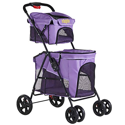 VIAGDO Double Dog Stroller for Small Medium Dogs & Cats, 4 Wheels Cat Stroller for 2 Large Cats, Dog Jogging Stroller with 2 Detachable Carrier/One-Hand Folding/Suspension System Pet Gear