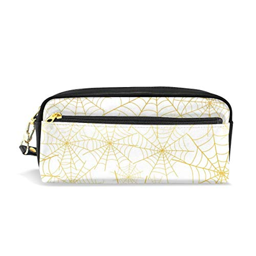 Portable PU Leather Pencil Case Gold Spiderweb Halloween Small Cosmetic Bags Makeup Bag Pencil Holder Pen Case